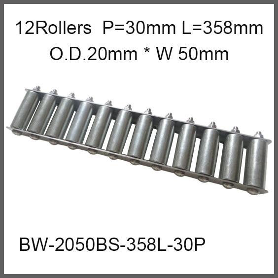 12pcs wheels 30mm Pitch 358mm Length Skate Wheel Conveyor 20mm O.D.*50mm Width Wheeled Gravity Conveyor roller Capacity 50Kgf