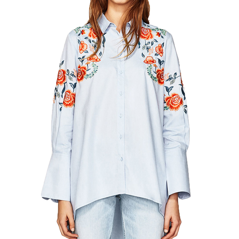 Summer tops 2017 casual embroidery font b women b font font b blouses b font flowers