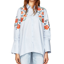 Summer time tops 2017 informal embroidery girls blouses flowers girls tops lengthy sleeve girls shirts blue womens clothes