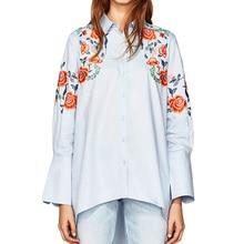 Summer tops 2017 casual embroidery women blouses flowers women tops long sleeve women shirts blue womens