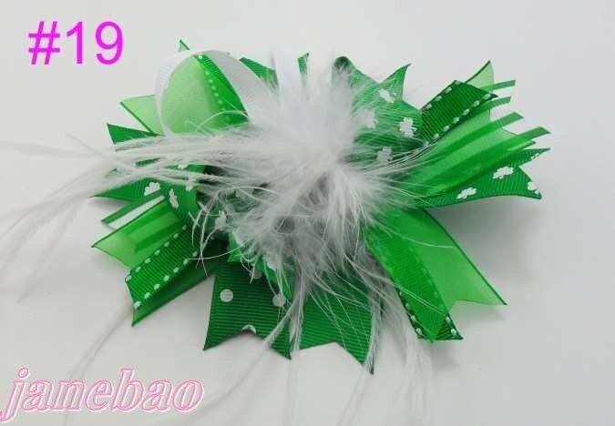 32 шт. модный бутик для девочек банты для волос с перьями Популярные Модные банты для волос