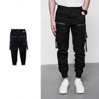 Streetwear Men Multi Pockets Jogger Pants Pleated Design Biker Pants With Buckle Straps New 2017 Mens