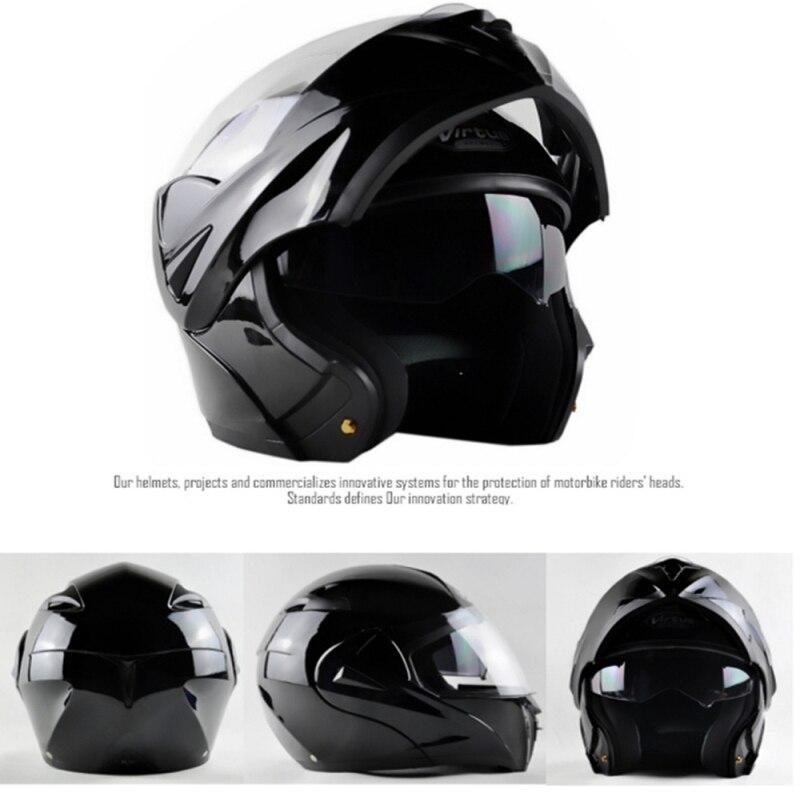 DOT Approved Motorcycle Helmet with Inner Sun Visor Safety Flip Up Double Lens Dual Visor Racing Motocross Quad ILM Helmet Black