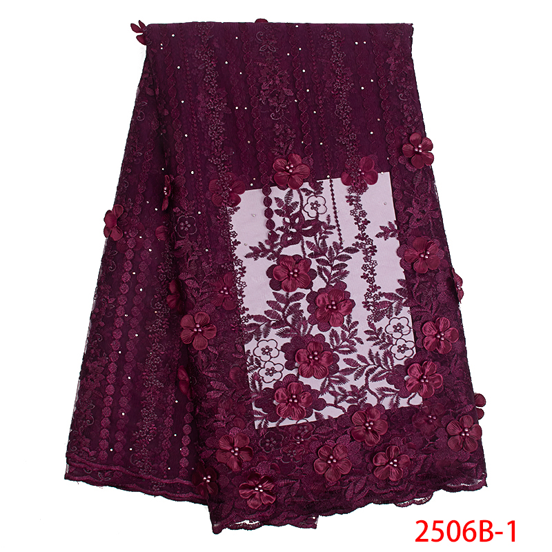 African Fabric Lace High Quality 3d Flower Embroidery Nigerian Laces Fabrics Beaded Tulle Mesh Lace For Women Dresses KS2506B-1