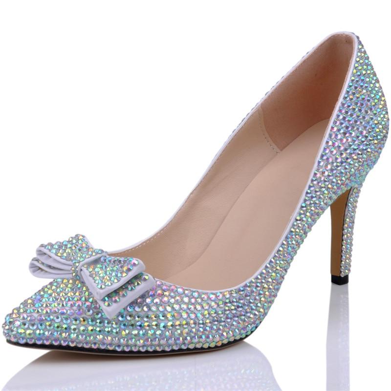 LOSLANDIFEN Women Crystal Bow Heels 8CM High Heel Full Rhinestone Pointed  Toe Wedding Shoes Women Bridal Pumps - aliexpress.com - imall.com c96c7f82d7f3