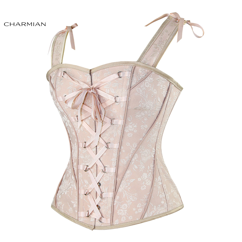 Image 3 - Charmian Women's Sexy Victorian Vintage Corset Vest Floral Bridal Overbust Corsets and Bustiers with Shoulder Straps Corselet-in Bustiers & Corsets from Underwear & Sleepwears