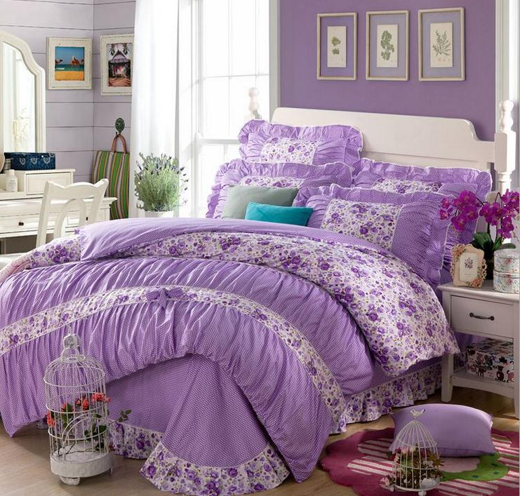 Purple Flowers Home Textiles Cotton Twin Full Queen King