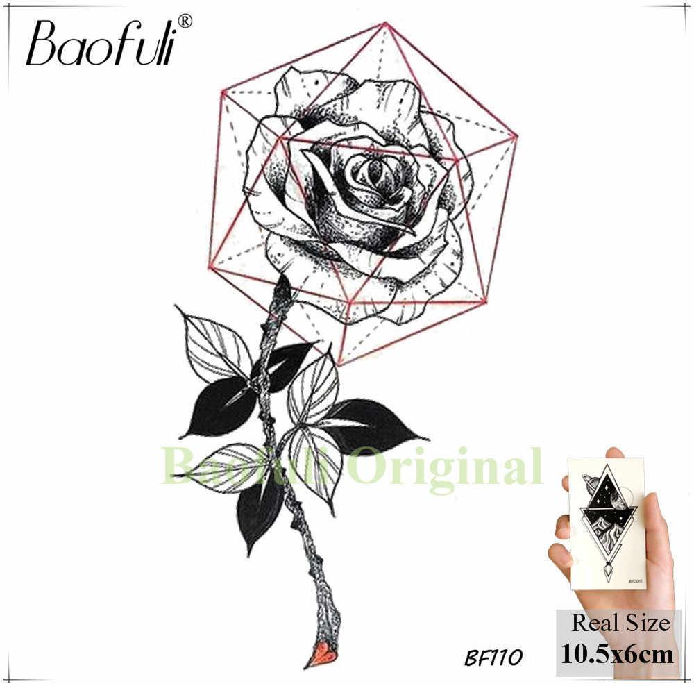 Baofuli Sketch Art Tattoo Rose Geometric Leave Temporary Tattoo Sticker Women Men Neck Triangle Black Fake Tatto Flower Body Arm