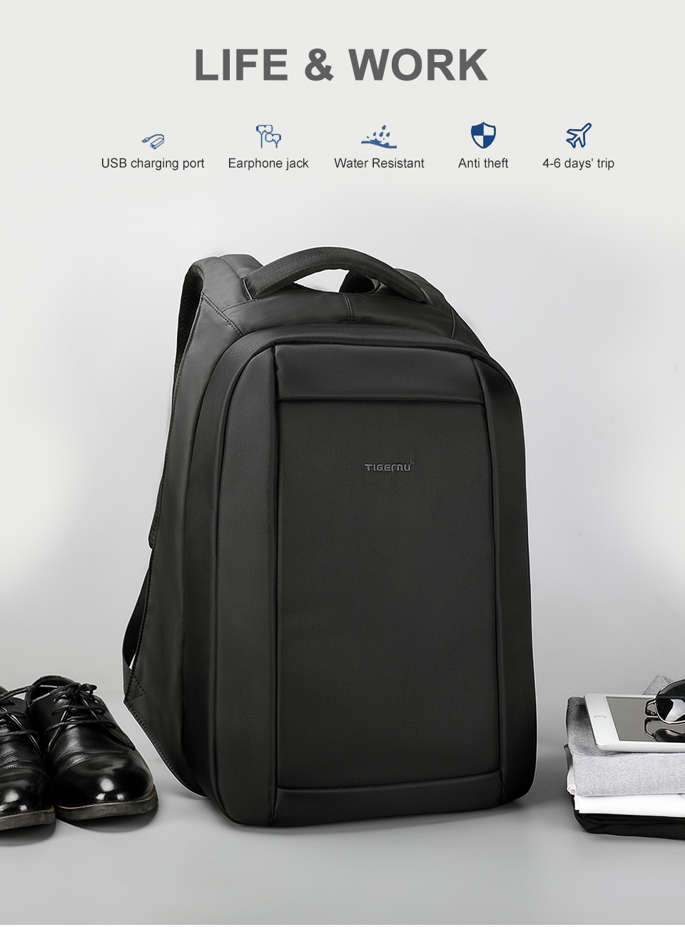 1.anti theft travel backpack