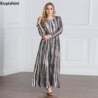Plus Size 6XL 5XL 4XL 3XL Print Striped Dress Vintage Autumn Long Sleeve O Neck Loose