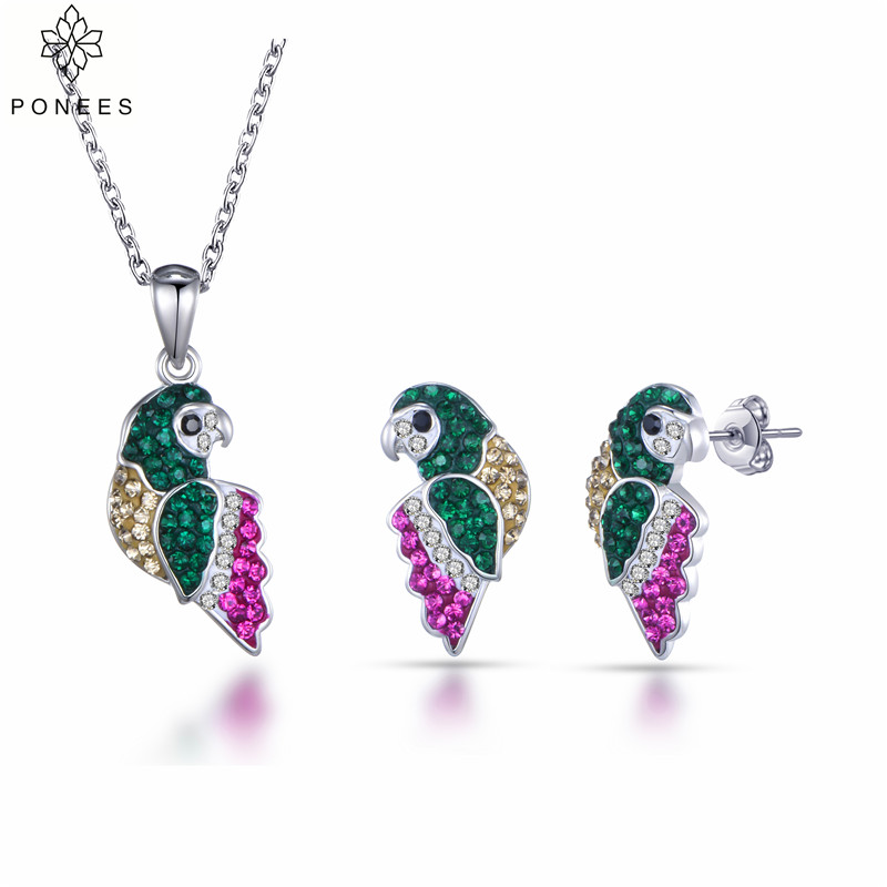PONEES Hot Sale Full Of Crystal Parrot Stud Earrings Pendant Necklace Bridal Jewelry Sets For Women Ladies