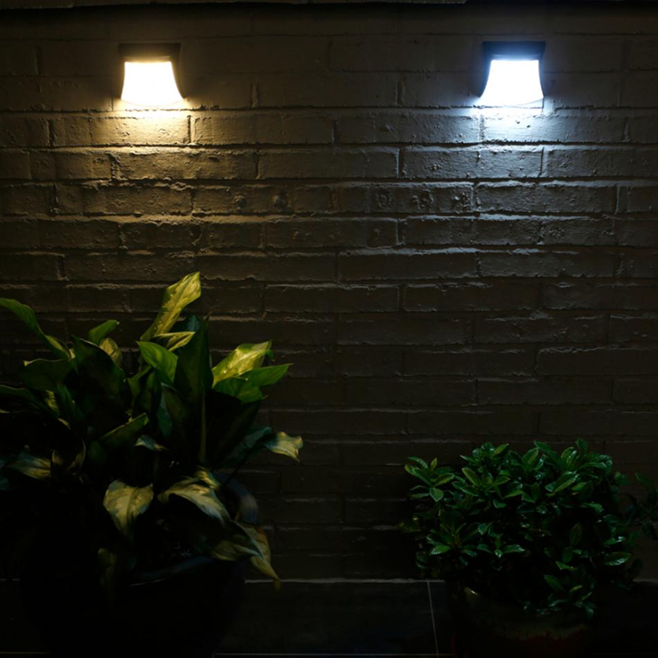 3 LED Solar Power Waterproof Wall Light Outdoor Pathway Yard Porch Lights