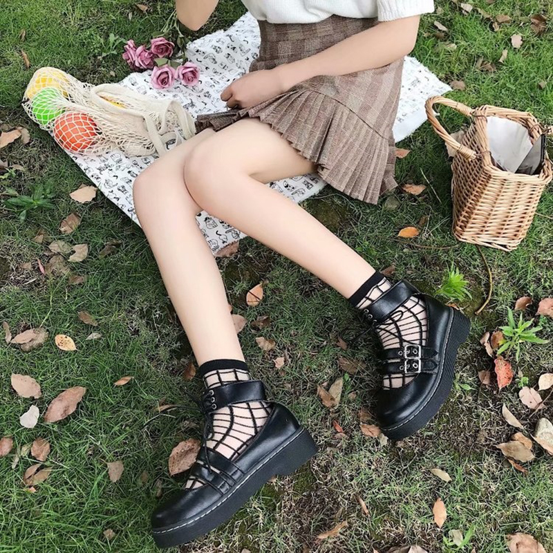 Japanese Student Lolita Goth Shoes College Students Girl Shoes Uniform Shoes PU Leather MARY JANE Shoes