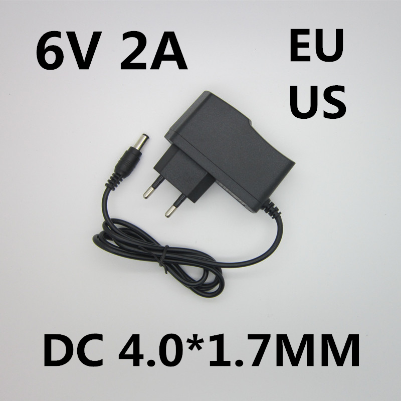 Best quality AC/DC Adapter DC 6V 2A AC 100-240V Converter Adapter,6V2A Charger Power Supply EU Plug DC 4.0*1.7MM 5pcs best quality dc plug dc plug long 5 5 2 1mm solder free shipping