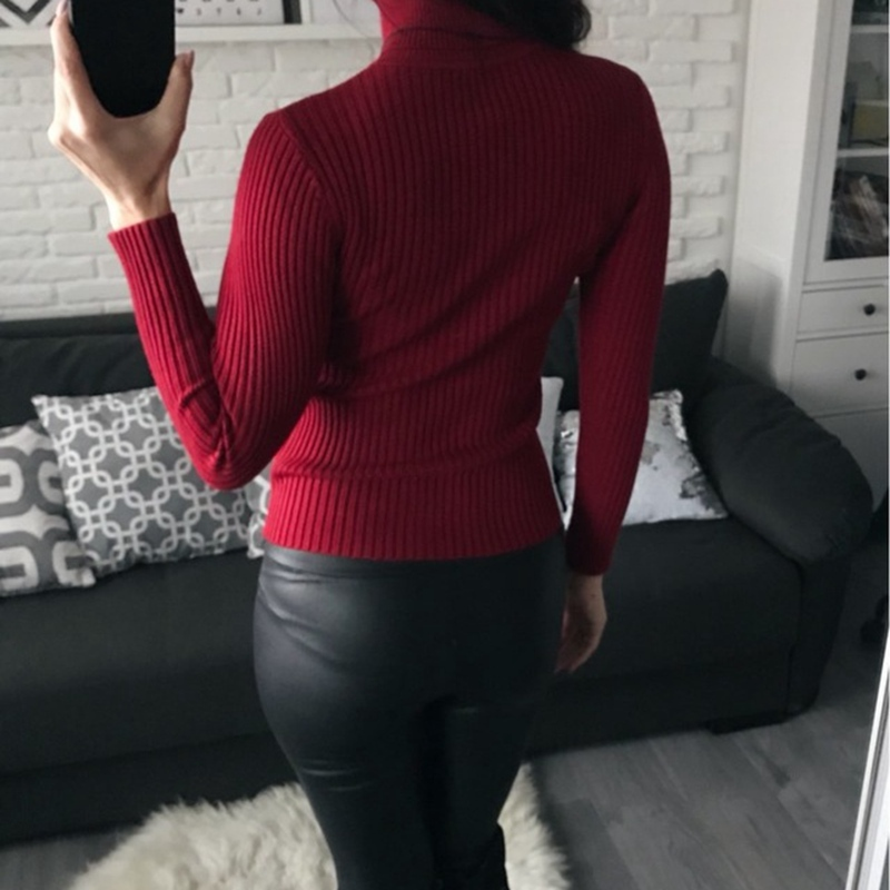 On sale 2019 autumn winter Women Knitted Turtleneck Sweater Casual Soft polo-neck Jumper Fashion Slim Femme Elasticity Pullovers 3