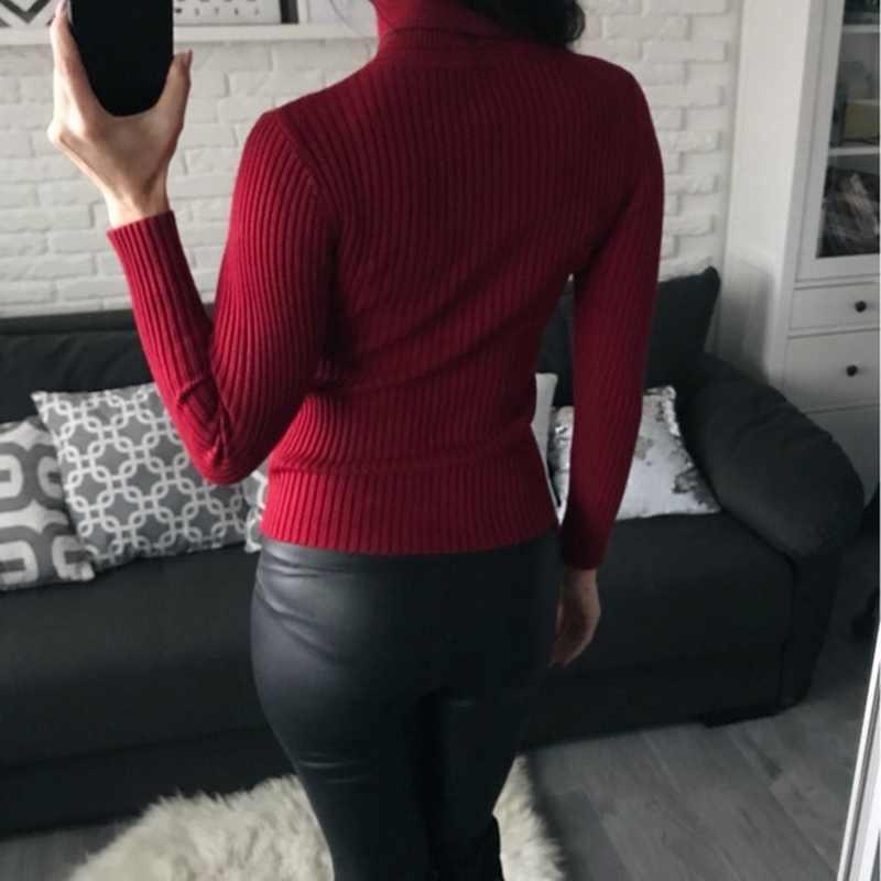 On Sale 풀오버 2020 가을 겨울 여성 니트 폴드 오버 터틀넥 스웨터 캐주얼 리브 점퍼 인후 여성 풀 코트