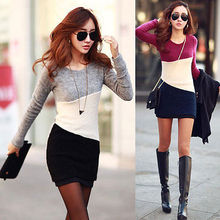 Women Winter Casual Long Sleeve Knitted Jumper Sweater Tops Pullover Dress Tops