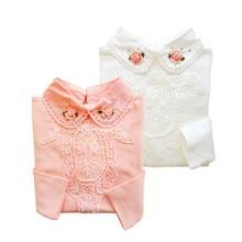 2016 autumn fashion solid colors floral medium-length girls kids blouse 100% cotton long-sleeve collar shirt children clothings