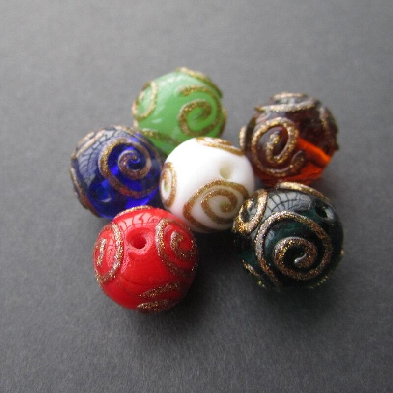 10 шт./лот 12 мм Lampwork Бусины ручной работы с Стиль многоцветный круглый свободные Бусины для изготовления ювелирных изделий ...