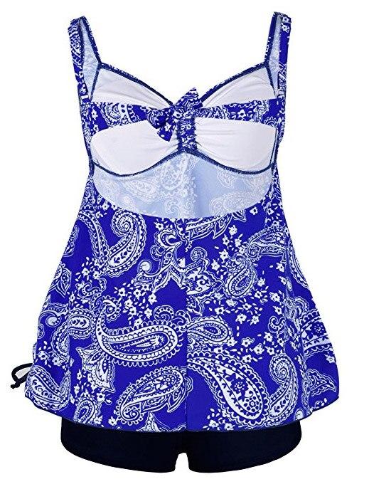 Plus Size Swimwear Women Swimsuit Sexy Tankini Set Two-piece Suits Swirly Paisley Print Padded Bandage Bathing Suit Swimdress