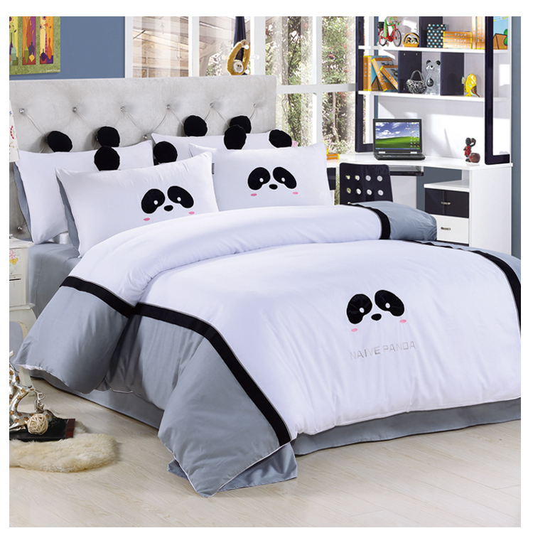 black and white panda bedding set queen size doona duvet quilt comforter cover bedsheet. Black Bedroom Furniture Sets. Home Design Ideas
