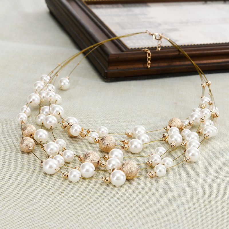 KMVEXO 2018 New Fashion Jewelry Gold Color Multi Layer Chains Imitation Pearl Necklaces For Women Party Wedding Bride Necklace 6