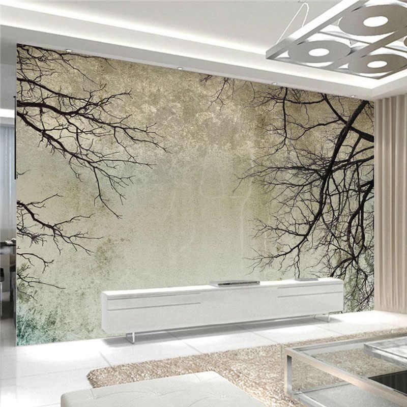 Papel pintado De foto 3D rama cielo Retro Murales Pared tela Sala TV sofá telón De fondo revestimiento De paredes impermeable Papel De pared 3 D