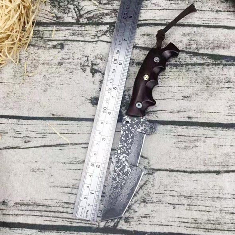 Handmade forged Damascus Steel Forged Damascus Steel pattern hunting knife fixed knife rosewood handle camping knives man gift high carbon steel imitate damascus knife handmade straight knife forged steel sharp hunting knife fixed tactical knives
