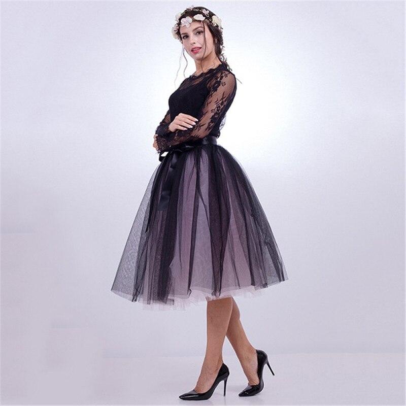 a824c09ae86 2019 7 Layers Midi Tulle Skirts Womens Fashion Pleated TUTU Skirt ...