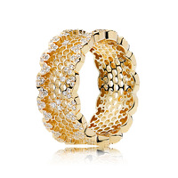 Authentic 925 Sterling Silver Pandora Ring Openwork Golden Shine Honeycomb Lace Rings For Women Wedding Party Gift Fine Jewelry