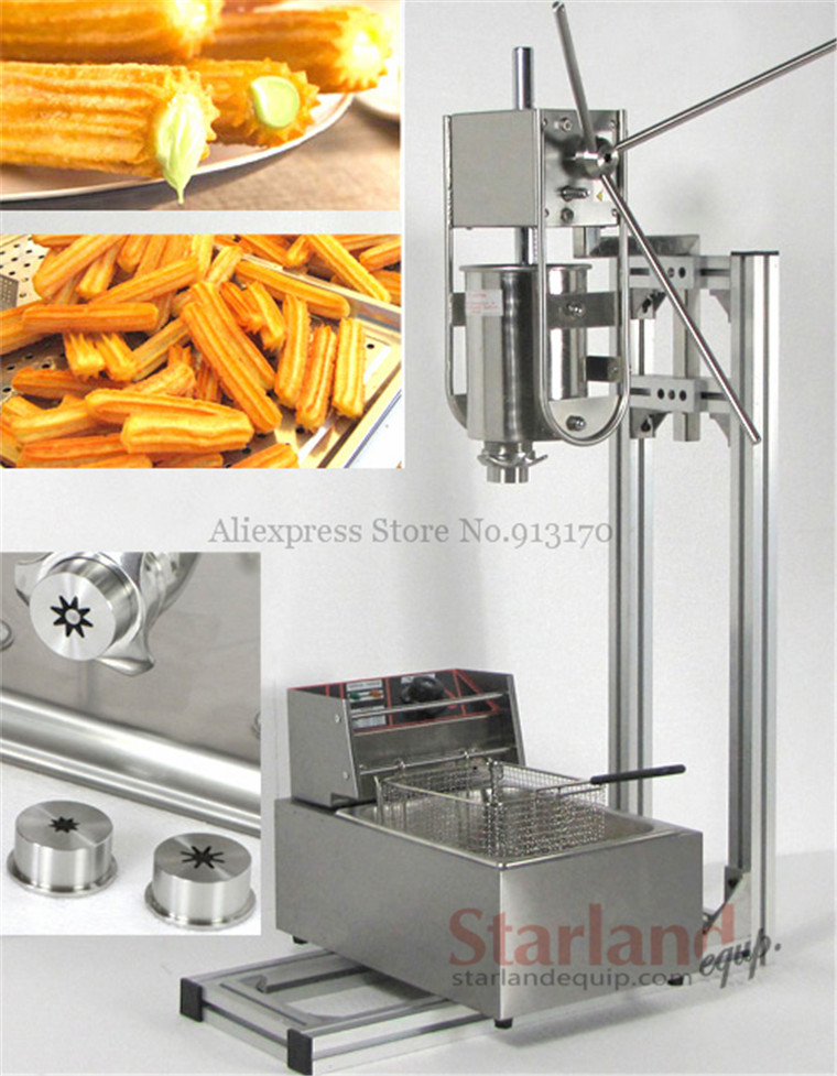 Manual Spanish Churros Making Machine Capacity 3L Commercial Deluxe Stainless Steel 3L Churro Maker with 6L Electric Fryer 12l electric automatic spain churros machine fried bread stick making machines spanish snacks latin fruit maker