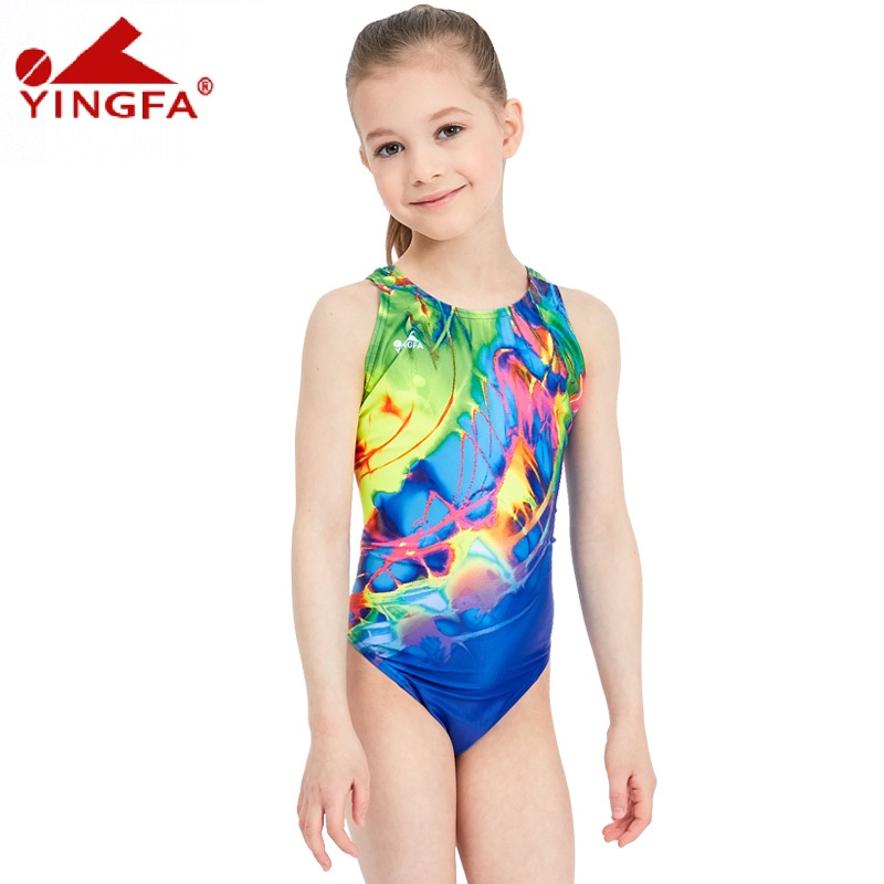 6e1a9dbcb33d2 yingfa children girls swimwear kids one piece professional bathing suits  racing competition tights printed lady swimming