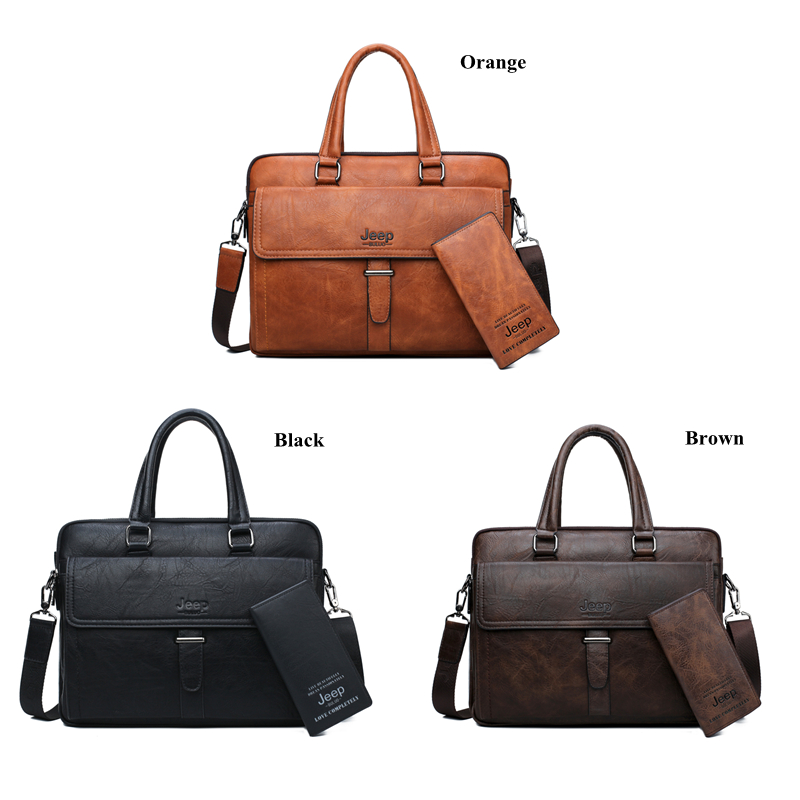 JEEP BULUO Men Briefcase Bag Leather Office Bags For 13.3 inch Laptop Business Bags 2 pcs Set Handbags Large Capacity Totes Male