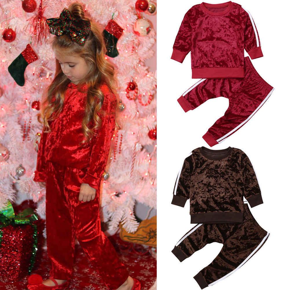 2018 Multitrust брендовые осенние модные одежда для малышей для девочек бархат  сплошной наряд Комплект одежды топы 856f7c03896dd