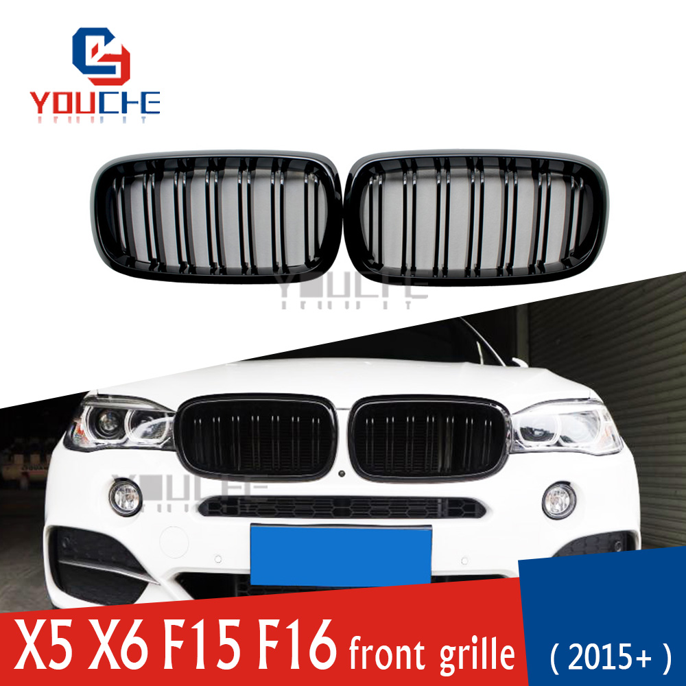 X5 X6 2 Slat Racing Grill Front Bumper Kidney Grille Grills for BMW X5 F15 X6 F16 5 door SUV Front Hood Mesh Gloss Black