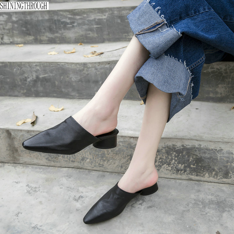100 Cow leather low heels Women Slippers Pointed Toe summer Ladies Slides Women casual Mules Shoes