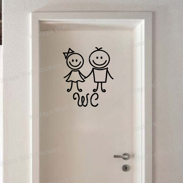 Humanoid Doll WC Sticker Toilet Wall Decals Art Vinyl Wall Sticker - Toilet wall stickers