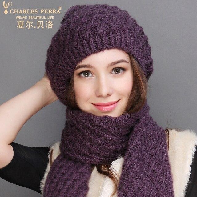 צ ארלס Perra נשים כובע צעיף סטי סתיו חורף חדש סרוג כובעי אופנה אלגנטי מזדמן כומתה חמה סגנון נקבה בימס 2321