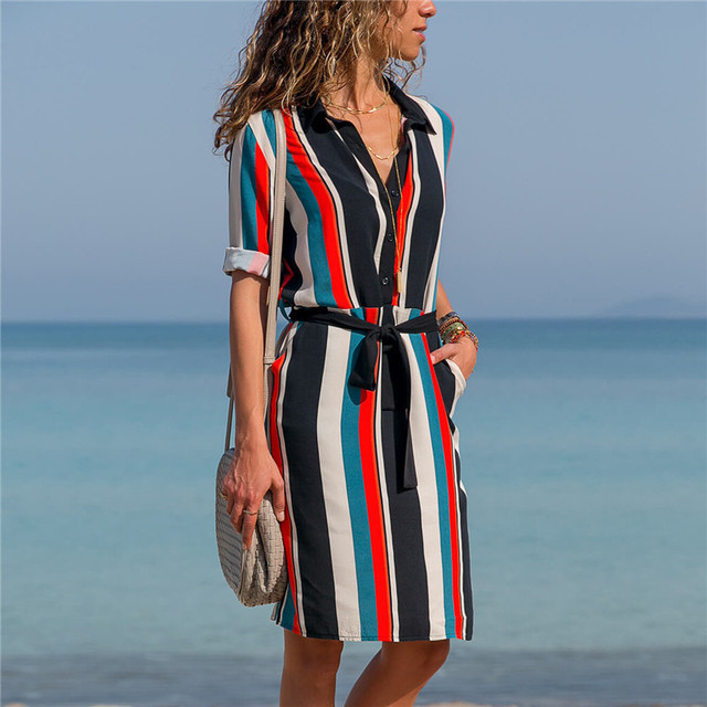57822c7b2f2 2019 Summer Dress Women Striped Beach Chiffon Mini Dress Office Lady Long  Sleeve Casual Turn-Down Collar Shirt Dress Robe Femme