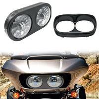 Black Dual LED Headlight For Harley Road Glide Motorcycle 2004 2013 Projector MOTO LED Leaning Double Turn Left Right Light