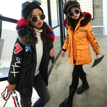 kids girls winter padded jacket baby girl clothes 2017 new fashion fur collar big virgin cotton coat for 4-12 years