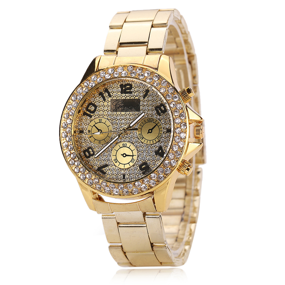 Women Rhinestone Watches Geneva Watches Stainless Steel Watches Crystal Shiny 3colors Crystal Hours Dropship Relogio Feminino