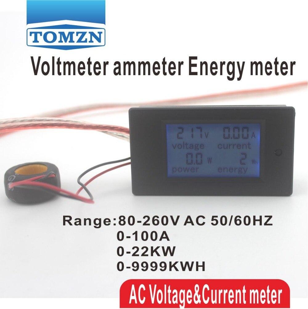 4IN1 LCD 100A Tensión corriente potencia activa medidor de energía kwh panel de luz de fondo azul del amperímetro del voltímetro 80-260 V 50/60 HZ Dividido CT