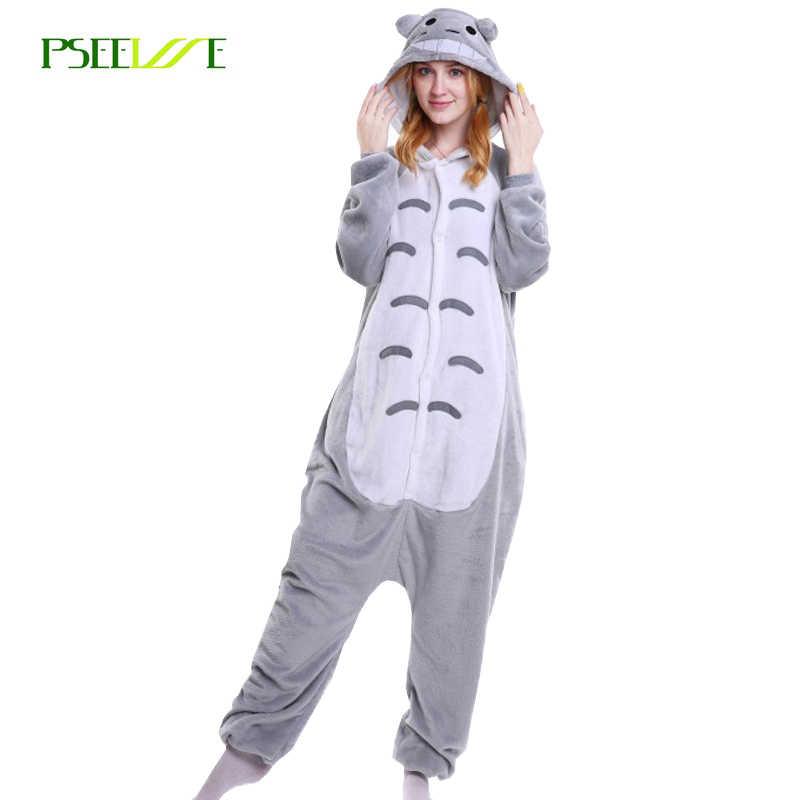 7aed12d7a1 Warm pajama set women Onesies for adults Flannel Animal pijamas totoro pajamas  sleepwear cute girls sleepwear