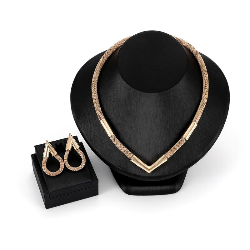 1 Set Necklace Earrings Bride Wedding Women Jewelry Noble Luxury V Shape Pendant Link Chain Necklace Costume Jewelry