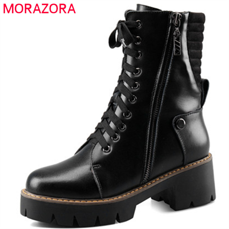 MORAZORA Big size 34-43 womens boots fashion shoes ankle boots for women platform shoes genuine leather boots black zip morazora ankle boots for women fashion shoes woman cow suede leather boots solid zipper platform womens boots size 34 40