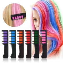 6 kolorów Mini kredki do włosów profesjonalne kredki do włosów Multicolor farba kolorowa tymczasowy grzebień do farbowania włosów przybory do pielęgnacji i stylizacji włosów tanie tanio MF87450 Approx 26x8 5cm ELECOOL Z tworzywa sztucznego