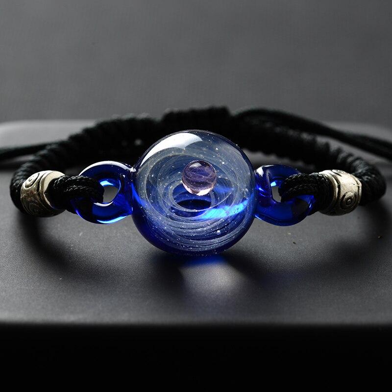 BOEYCJR Universum Planeten Glas Perle Armreifen & Armbänder Galaxy Mode Schmuck Galaxy Solar System Armband Für Frauen Weihnachten