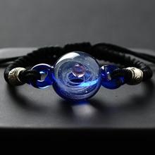 BOEYCJR pulsera con cuentas de cristal para mujer, brazalete con cuentas de cristal, universo, planetas, Galaxia, joyería, Sistema Solar, navidad