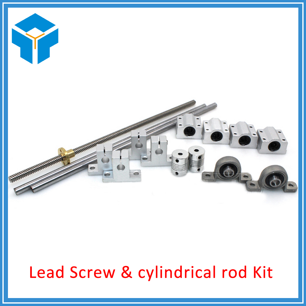 L300mm 330mm 400mm 500mm D8mm 8mm Horizontal Double Track Lead Screw Coupling Bearing & Linear Shaft Optical Axis Bearing Set l300mm 330mm 400mm 500mm d8mm 8mm horizontal double track lead screw coupling bearing